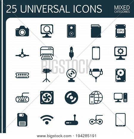 Hardware Icons Set. Collection Of Desktop Computer, Network Structure, Printed Document And Other Elements. Also Includes Symbols Such As Speaker, Cpu, Cooler.