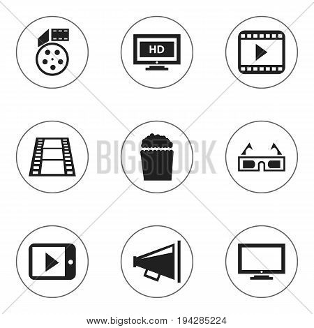 Set Of 9 Editable Cinema Icons. Includes Symbols Such As Reel, Cinema Snack, Hd Screen And More. Can Be Used For Web, Mobile, UI And Infographic Design.