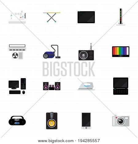 Set Of 16 Editable Tech Icons. Includes Symbols Such As Palmtop, Personal Computer, Modem And More. Can Be Used For Web, Mobile, UI And Infographic Design.