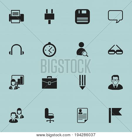 Set Of 16 Editable Bureau Icons. Includes Symbols Such As Search, Printing Machine, Professor And More. Can Be Used For Web, Mobile, UI And Infographic Design.