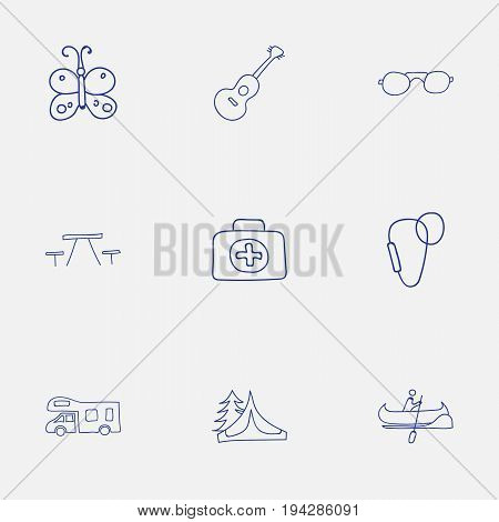 Set Of 9 Editable Camping Icons. Includes Symbols Such As Camp House, Eyeglasses, Picnic And More. Can Be Used For Web, Mobile, UI And Infographic Design.
