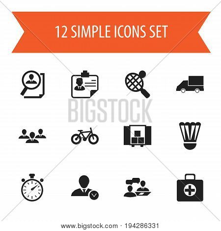 Set Of 12 Editable Complicated Icons. Includes Symbols Such As Racket, Group, Chronometer And More. Can Be Used For Web, Mobile, UI And Infographic Design.