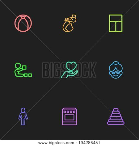 Set Of 9 Editable Relatives Icons. Includes Symbols Such As Tower, Grandma, Balcony. Can Be Used For Web, Mobile, UI And Infographic Design.