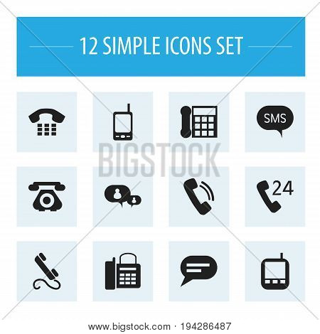 Set Of 12 Editable Device Icons. Includes Symbols Such As Transceiver, Call, 24 Hour Servicing And More. Can Be Used For Web, Mobile, UI And Infographic Design.