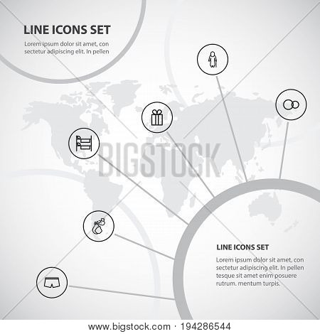 Set Of 6 Editable Kin Icons. Includes Symbols Such As Bunk, Shorts, Present And More. Can Be Used For Web, Mobile, UI And Infographic Design.