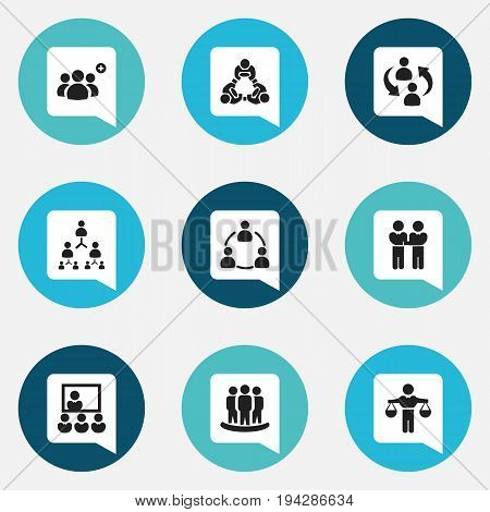 Set Of 9 Editable Cooperation Icons. Includes Symbols Such As Hierarchy, Corporate, Cooperation And More. Can Be Used For Web, Mobile, UI And Infographic Design.