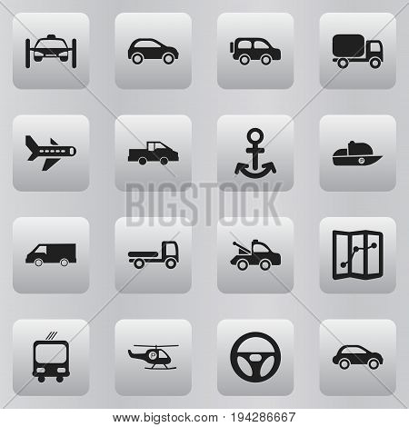 Set Of 16 Editable Shipment Icons. Includes Symbols Such As Car Vehicle, Shipping, Van And More. Can Be Used For Web, Mobile, UI And Infographic Design.