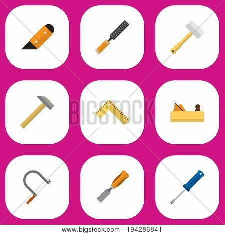 Set Of 9 Editable Equipment Icons. Includes Symbols Such As Turn-Screw, Bit, Jointer And More. Can Be Used For Web, Mobile, UI And Infographic Design.