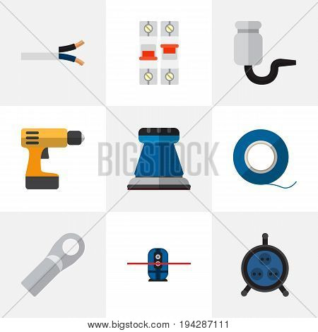 Set Of 9 Editable Electrical Icons. Includes Symbols Such As Receptacle, Emery Paper, Screwdriver And More. Can Be Used For Web, Mobile, UI And Infographic Design.