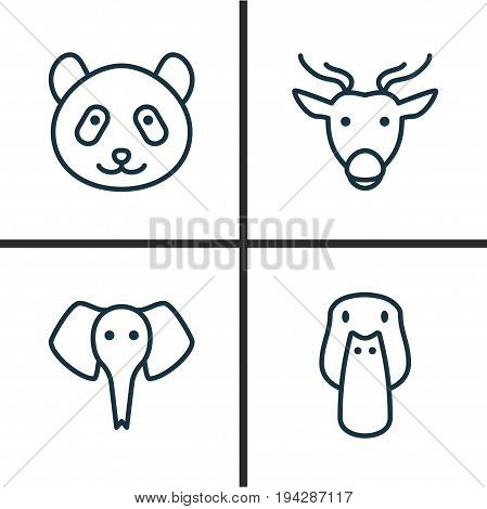 Zoo Icons Set. Collection Of Duck, Moose, Trunked Animal And Other Elements. Also Includes Symbols Such As Animal, Trunked, Reindeer.