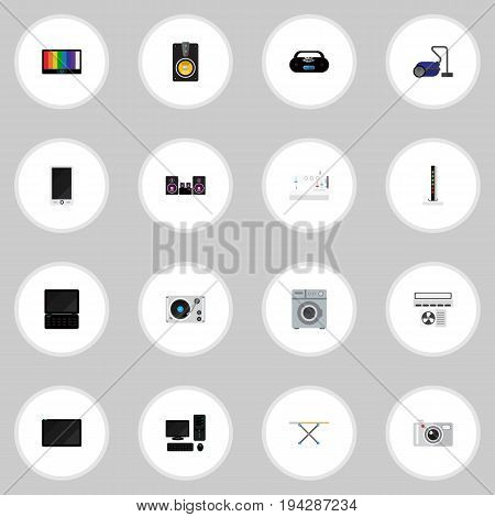 Set Of 16 Editable Tech Icons. Includes Symbols Such As Laundromat, Cassette Player, Palmtop And More. Can Be Used For Web, Mobile, UI And Infographic Design.