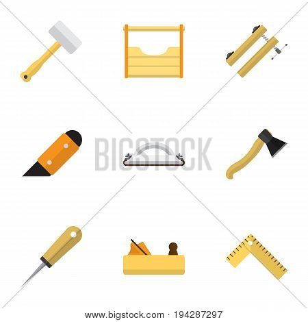 Set Of 9 Editable Apparatus Icons. Includes Symbols Such As Emery Paper, Tool, Meter And More. Can Be Used For Web, Mobile, UI And Infographic Design.