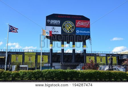 COLUMBUS OH - JUNE 25: MAPFRE stadium in Columbus Ohio is shown on June 25 2017. It is the home stadium of the Columbus Crew SC of Major League Soccer.
