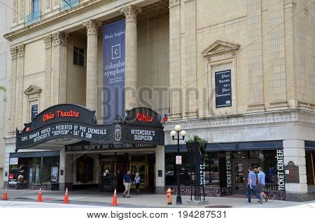 COLUMBUS OH - JUNE 28: The Ohio Theatre in Columbus Ohio is shown on June 28 2017. The 1928 movie theater is a National Historic Landmark.