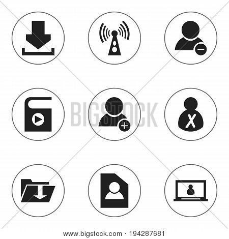 Set Of 9 Editable Global Icons. Includes Symbols Such As Document, Dossier, Account And More. Can Be Used For Web, Mobile, UI And Infographic Design.