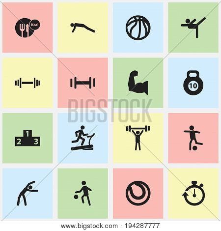 Set Of 16 Editable Lifestyle Icons. Includes Symbols Such As Bodybuilding, Basket Play, Strength And More. Can Be Used For Web, Mobile, UI And Infographic Design.