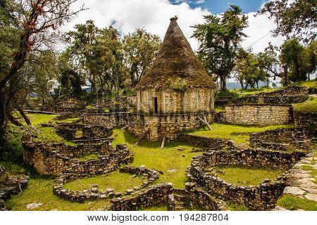 Famous view of Lost city Kuelap, near Chachapoyas, Peru