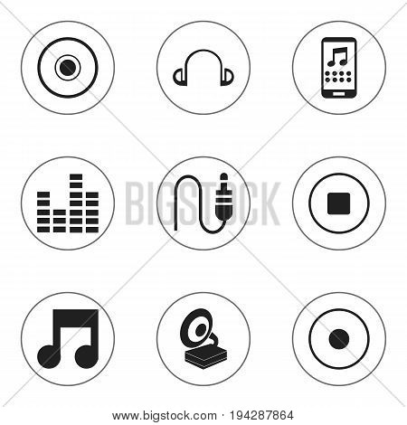 Set Of 9 Editable Audio Icons. Includes Symbols Such As Earpiece, Musical Symbol, Phonograph And More. Can Be Used For Web, Mobile, UI And Infographic Design.