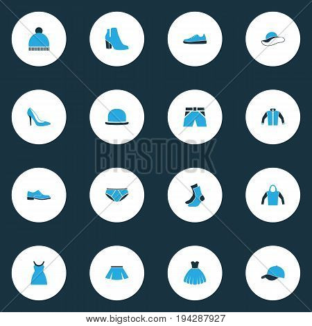 Dress Colorful Icons Set. Collection Of Heels, Man Footwear, Evening Gown And Other Elements. Also Includes Symbols Such As Man, Dress, Headgear.