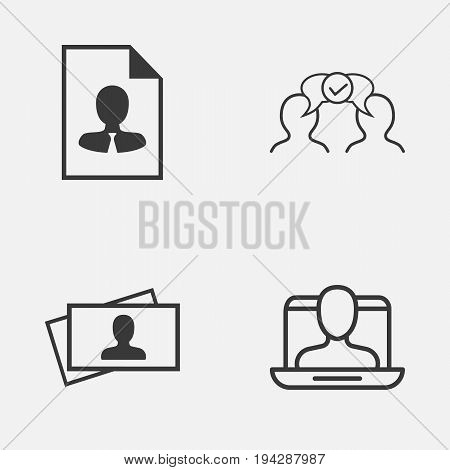 Business Icons Set. Collection Of Calling Card, Social Profile, Cv And Other Elements. Also Includes Symbols Such As Collaborate, Resume, Decision.