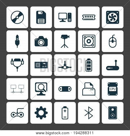 Computer Icons Set. Collection Of Settings, Camcorder, Desktop Computer And Other Elements. Also Includes Symbols Such As Ventilator, Detection, Generator.