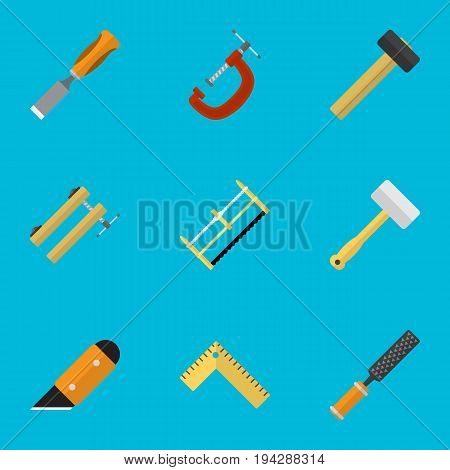 Set Of 9 Editable Instrument Icons. Includes Symbols Such As Rasp , Handsaw, Bit. Can Be Used For Web, Mobile, UI And Infographic Design.