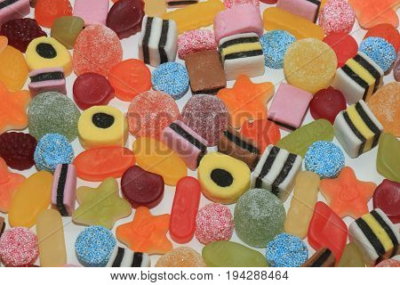 Candy in different shapes colors and sizes