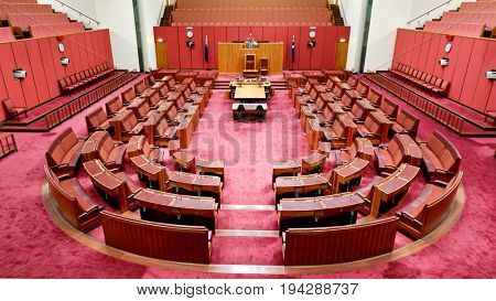 CANBERRA AUSTRALIA, 3 May 2017:  Senate Chamber at Australia's Parliament House