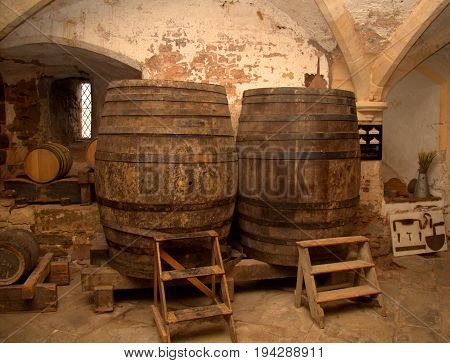 Barrels in a medieval wine and beer cellar