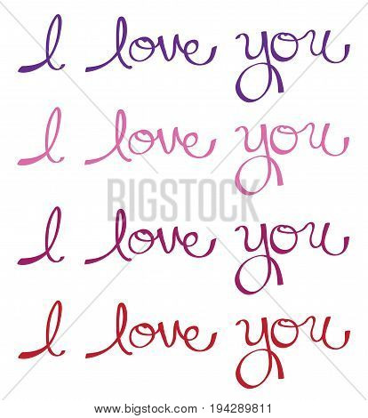 I Love You Colorful Cursive Calligraphy Lettering