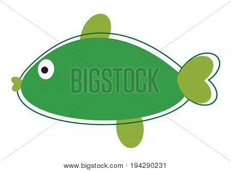 Cute Green Fish on Isolated White Background