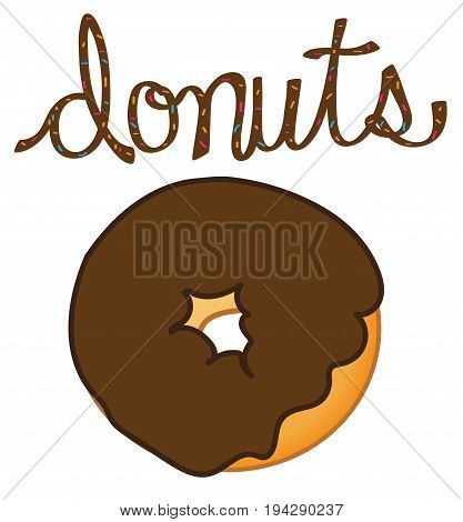 Yummy Donuts Lettering on Isolated White Background