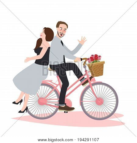 couple riding bike bicycle romance beautiful dating laughing happiness together vector