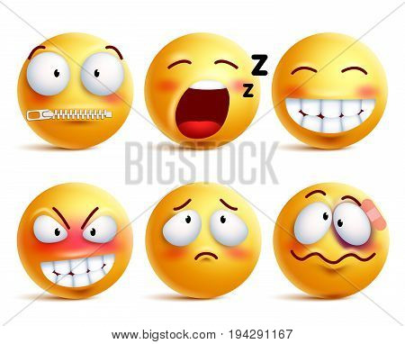 Smileys vector set. Yellow smiley face or emoticons with facial expressions and emotions like happy, zipped, sleepy and beaten isolated in white background. Vector illustration.