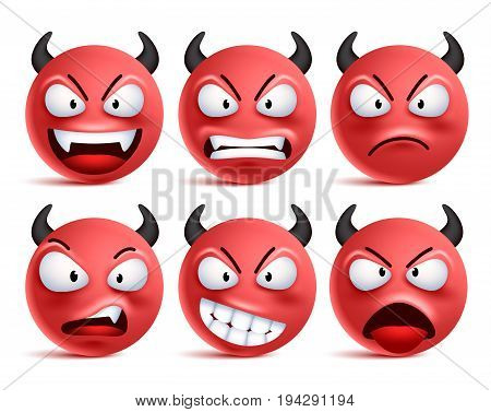 Demon smileys vector set. Bad devil smiley face or red emoticons with facial expressions and emotions like happy, angry and naughty isolated in white background. Vector illustration.