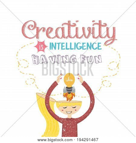 creativity is intelligence having fun quotes on creative mind rocket bulb lamp vector