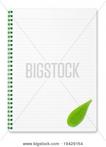 Notebook for ecological or environmental messages. Note book with green leaf.  isolated on pure white.
