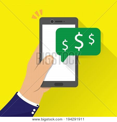 money receive notification on mobile phone,  flat style vector illustration