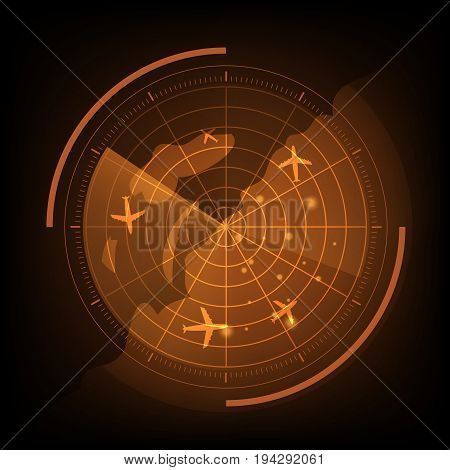 Orange radar screen with airplane and map, stock vector