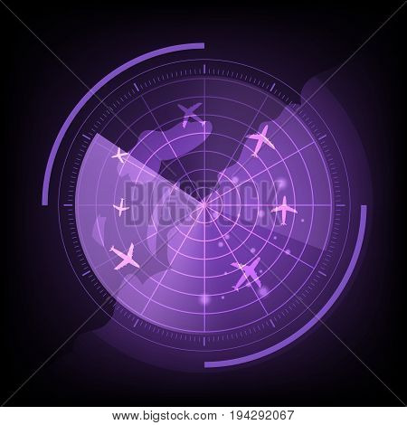Purple radar screen with airplane and map, stock vector