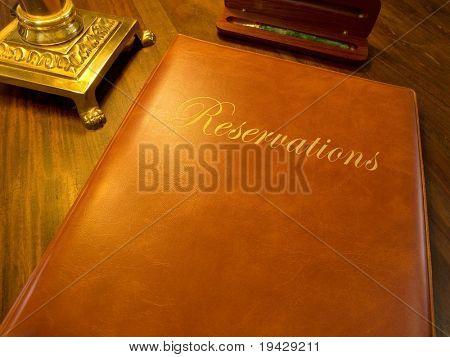 reservation book of a fine restaurant or hotel etc.