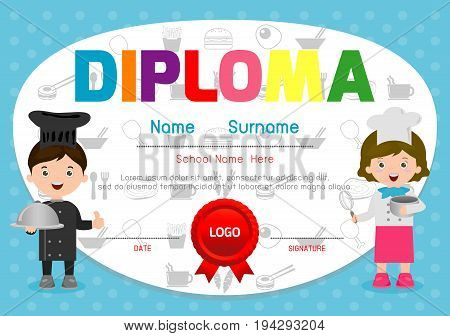 Template of children's diplomas and certificates, Little chef diploma design, Kids Cooking class certificate design template, Vector Illustration