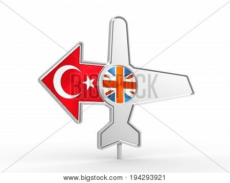 Emblem design for airlines, airplane tickets, travel agencies. Airplane icon and destination arrow. Flags of the Great Britain and Turkey. 3D rendering
