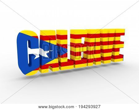 Caleave non existent word made from Catalonia and leave. Word of modern coinagetextured by flag of the Catalonia flag. 3D rendering