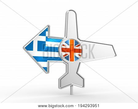 Emblem design for airlines, airplane tickets, travel agencies. Airplane icon and destination arrow. Flags of the Great Britain and Greece. 3D rendering