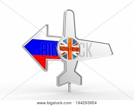 Emblem design for airlines, airplane tickets, travel agencies. Airplane icon and destination arrow. Flags of the Great Britain and Russia. 3D rendering