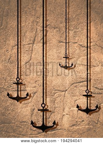 Nautical Anchors hanging by rope. Monochrome background