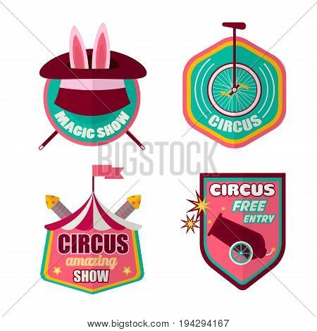 Circus logo templates set of magician hat with rabbit, equilibrist unicycle bicycle, cannon and tent marquee. Vector isolated flat icons for amazing magic show performance