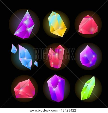 Crystals or gemstones and precious gem stones vector icons. Shining jewels and diamonds of blue opal or green emerald and pink ruby color. Vector isolated set on black background