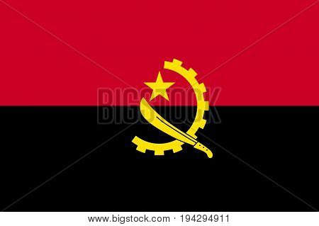Angola flag, country in West Africa. Flat style vector illustration